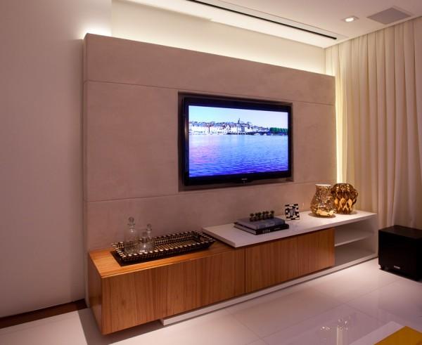 tv embutida em apartamento pequeno