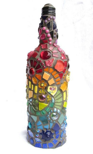 garrafa mosaico de vidro