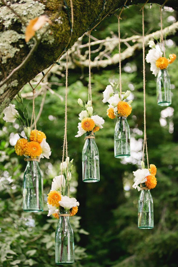 decoração casamento garrafa de vidro