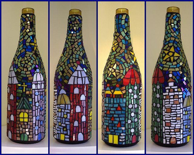 mosaico de vidro em garrafa