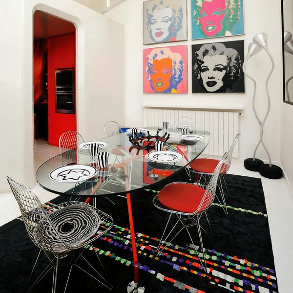 mesa de jantar de vidro - estilo pop