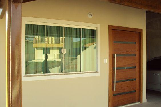 janela de correr vidro verde