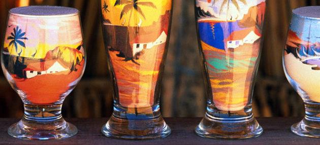 garrafa de vidro colorida