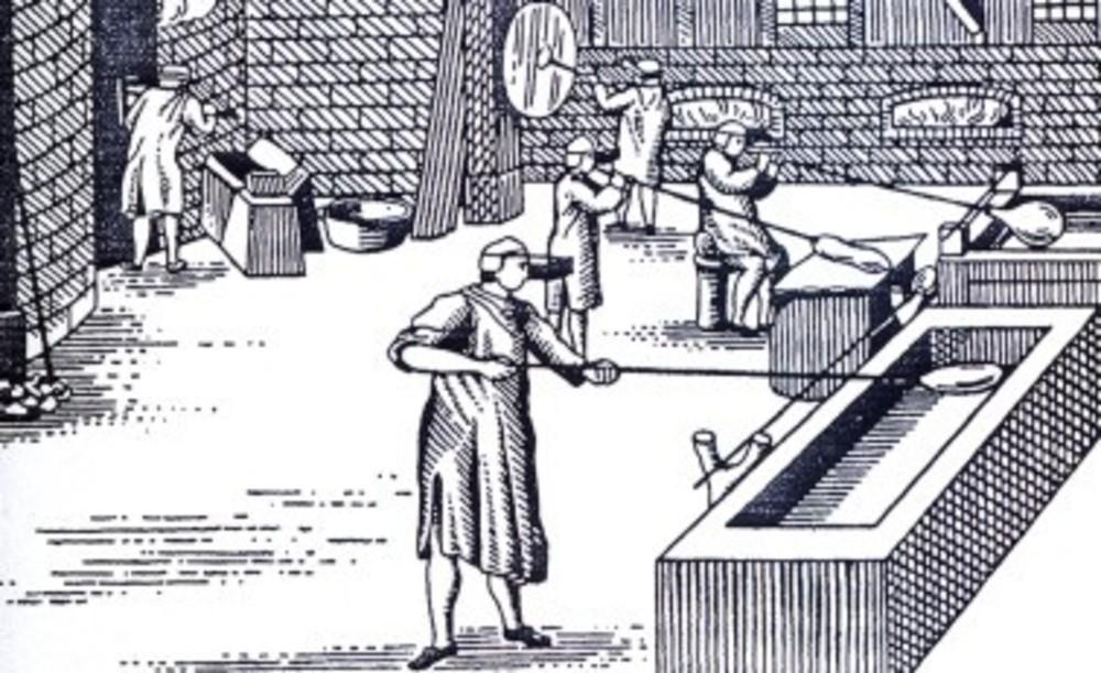 Ilustração de fabricação de vidro