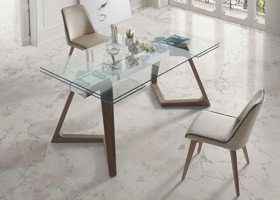 mesa de jantar de vidro - estilo Escandinavo
