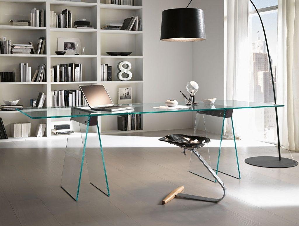 mesa de vidro grande escritório