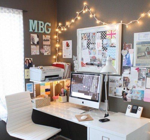 mural com luzes escritório