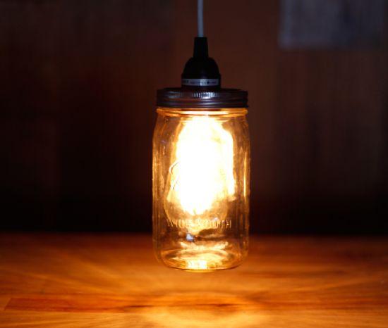 luminária pote de vidro