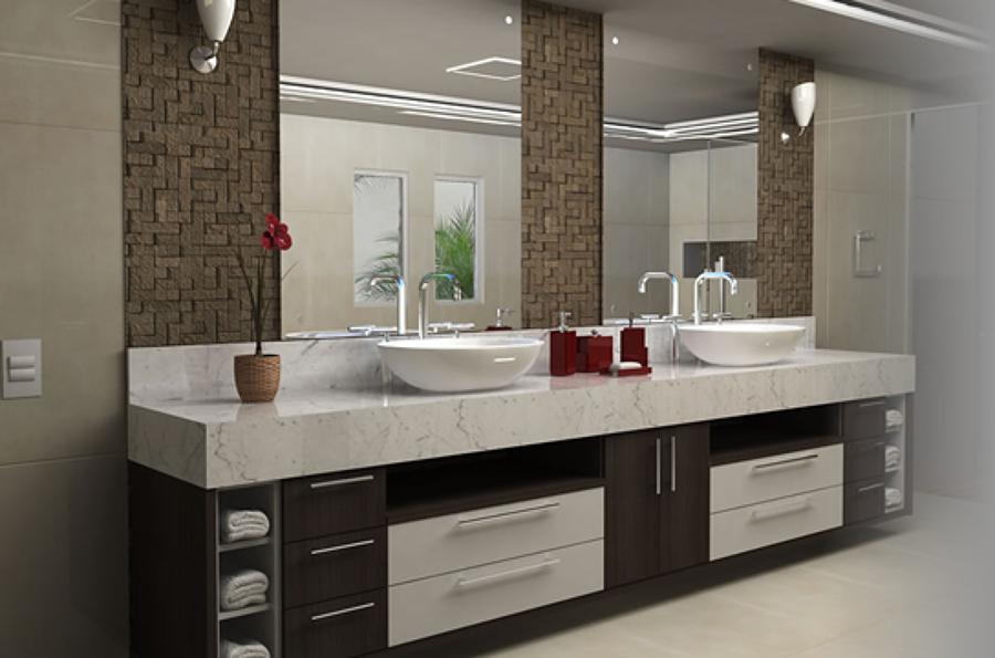 banheiro com espelhos - tipos de espelhos