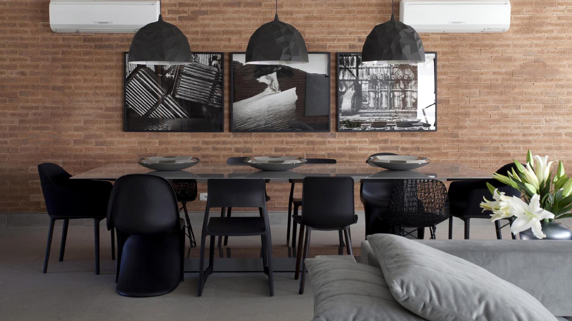 mesa de jantar de vidro - estilo industrial